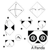 Step by step instructions how to make origami A Panda. Stock Photo