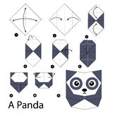 Step by step instructions how to make origami A Panda. Royalty Free Stock Images