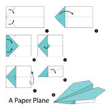 Step by step instructions how to make origami A Paper Plane. Illustration step by step of Paper Plane origami Royalty Free Stock Images