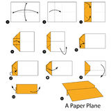 Step by step instructions how to make origami A Paper Plane. vector illustration