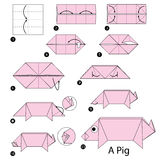 Step by step instructions how to make origami A Pig. Royalty Free Stock Photo