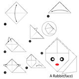 Step by step instructions how to make origami A Rabbit. stock illustration