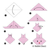 Step by step instructions how to make origami A Rabbit. Royalty Free Stock Image