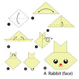 Step by step instructions how to make origami A Rabbit. Royalty Free Stock Photo