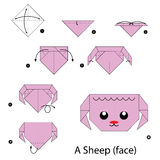 Step by step instructions how to make origami sheep. Illustration step by step of sheep origami Stock Photo