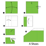 Step by step instructions how to make origami A Shoes. Stock Photos