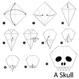 Step by step instructions how to make origami A Skull. Stock Images