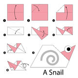 Step by step instructions how to make origami A Snail. Royalty Free Stock Photos