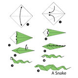 Step by step instructions how to make origami snake. Stock Photo