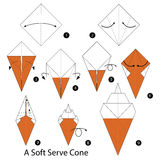 Step by step instructions how to make origami A Soft Cream. Royalty Free Stock Images