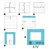 Step by step instructions how to make origami A TV. Royalty Free Stock Photos