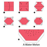 Step by step instructions how to make origami A Water Melon. Royalty Free Stock Photos