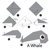 Step by step instructions how to make origami whale. Stock Photography