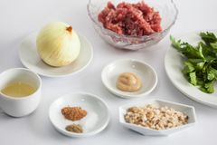 Ingredients to prepare kibbeh filling mix Stock Images
