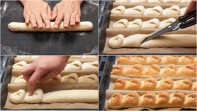 Step by step preparation of bread. French baguette.  bread cooking. collage. Step by step preparation of bread. French baguette. Forming `Tail of the Dragon` Stock Images