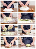 Step by step process of dough making Royalty Free Stock Images