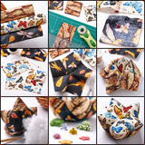 Step by step the production of patchwork pin cushion in the shap Royalty Free Stock Photos