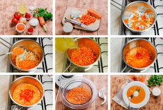Step by step recipe for cooking soup Stock Photos