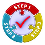 Step 1, Step 2, Step 3. The check mark in the form of a puzzle Stock Image