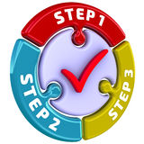 Step 1, Step 2, Step 3. The check mark in the form of a puzzle Royalty Free Stock Images