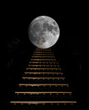 Step by step to the moon. Step by step to the moon on black background Stock Photography