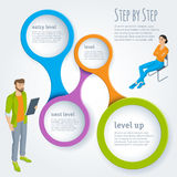 Step by step vector infographics. Isometric people, sitting and standing, man and woman, step by step vector infographics template Stock Photography