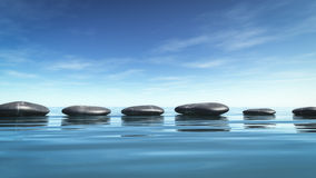 Step stones in the blue sea Stock Photography
