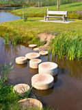 Step stones over water. Stepping Stones in Water of a Pond Stock Images