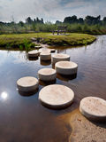 Step stones. Stepping Stones in Water of a Pond Stock Photos