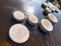 Step stones in water. Stepping Stones in Water of a Pond royalty free stock photo