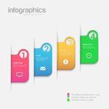 Step tabs 3D infographics mockup template vector background. Simple stylish 4 step label multicolor infographics mockup template. Infographic background concepts Stock Photography