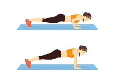 Step to instruction in push up. Step instruction for push up of woman. Cartoon illustration about work out Stock Images