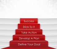 Steps To Success. Five steps to success concept which include goal, plan, action. Stairway and red carpet could represent step by step process of building career stock images