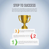 Step to success with winner trophy infographic design template Royalty Free Stock Image