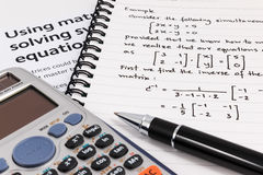 Step to using matrices when solving system of equations. Royalty Free Stock Images