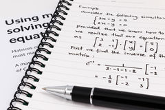 Step to using matrices when solving system of equations. Royalty Free Stock Image