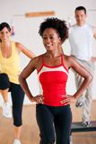 Step Training in gym with instructor Royalty Free Stock Photo
