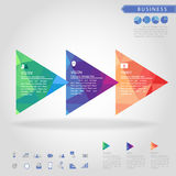 Step of triangle banner and business icon. Vector Royalty Free Stock Images