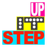 Step it up logo. This is a vector based graphic logo design which says STEP IT UP meaning jazz it up, do better, or make things cooler and classier. This Royalty Free Stock Photography