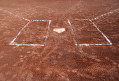 Step Up to Bat. A wide angle shot of empty batter's boxes and home plate Stock Image