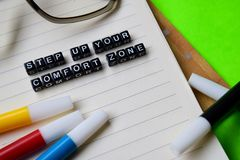 Step up your comfort zone message on education and motivation concepts stock images
