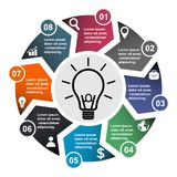 8 step vector element in eight colors with labels, infographic diagram. Business concept of 8 steps or options with bulb. 8 step vector element in eight colors stock illustration