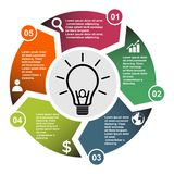 5 step vector element in five colors with labels, infographic diagram. Business concept of 5 steps or options with bulb.  stock illustration