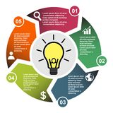 5 step vector element in five colors with labels, infographic diagram. Business concept of 5 steps or options with light bulb.  stock illustration