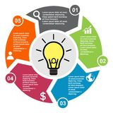 5 step vector element in five colors with labels, infographic diagram. Business concept of 5 steps or options with light bulb.  royalty free illustration