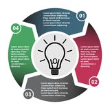 4 step vector element in four colors with labels, infographic diagram. Business concept of 4 steps or options with bulb.  royalty free illustration