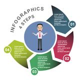 4 step vector element in four colors with labels, infographic diagram. Business concept of 4 steps or options with businessman.  royalty free illustration