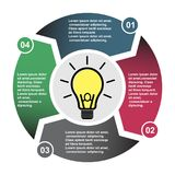 4 step vector element in four colors with labels, infographic diagram. Business concept of 4 steps or options with light bulb.  royalty free illustration