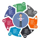 7 step vector element in seven colors with labels, infographic diagram. Business concept of 7 steps or options with businessman.  vector illustration