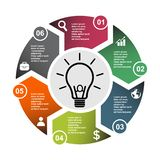 6 step vector element in six colors with labels, infographic diagram. Business concept of 6 steps or options with bulb.  royalty free illustration